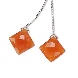 bead, carnelian (dyed / heated), 16x16mm hand-cut top-drilled faceted puffed diamond, b grade, mohs hardness 6-1/2 to 7. sold per pkg of 2 beads.