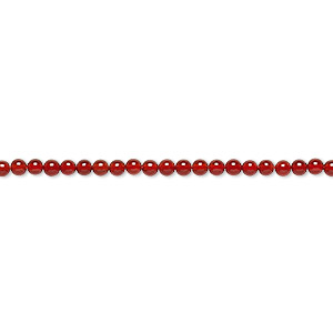 bead, carnelian (dyed / heated), 2mm round, b grade, mohs hardness 6-1/2 to 7. sold per 16-inch strand.