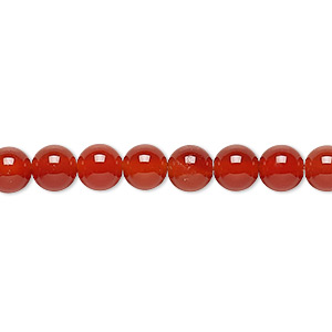 bead, carnelian (dyed / heated), 6mm round, c grade, mohs hardness 6-1/2 to 7. sold per 16-inch strand.