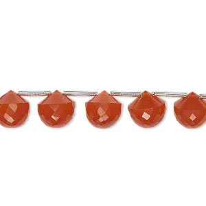 bead, carnelian (dyed / heated), 7x7mm-8x8mm hand-cut top-drilled faceted teardrop, b+ grade, mohs hardness 6-1/2 to 7. sold per pkg of 5 beads.