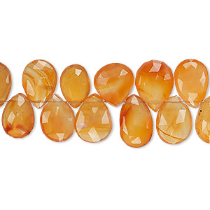 bead, carnelian (dyed / heated), 9x7mm-12x9mm hand-cut top-drilled faceted puffed teardrop, b grade, mohs hardness 6-1/2 to 7. sold per 4-inch strand.