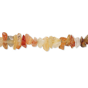 bead, carnelian (dyed / heated), medium hand-cut chip with 0.5-1.5mm hole, mohs hardness 6-1/2 to 7. sold per 36-inch strand.