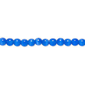 bead, cats eye glass, dark blue, 4mm round with 0.7-0.9mm hole, quality grade. sold per 16-inch strand.