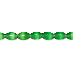 bead, cats eye glass, dark green, 7x5mm oval, quality grade. sold per 16-inch strand.