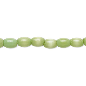 bead, cats eye glass, green, 6x4mm-7x5mm oval. sold per 15-inch strand.