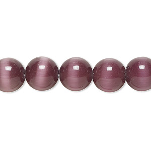 bead, cats eye glass, purple, 10mm round, quality grade. sold per 16-inch strand.
