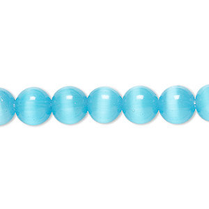 bead, cats eye glass, turquoise blue, 8mm round, quality grade. sold per 16-inch strand.
