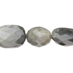 bead, cats eye quartz (natural), medium to large hand-cut faceted nugget, mohs hardness 7. sold per 14-inch strand.