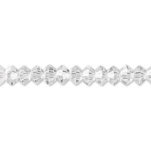 bead, celestial crystal, 16-facet, clear, 6x3mm faceted disc. sold per 16-inch strand.