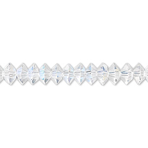 bead, celestial crystal, 16-facet, clear ab, 6x3mm faceted disc. sold per 16-inch strand.
