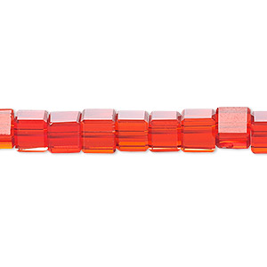 bead, celestial crystal, 18-facet, red, 6x6mm faceted cube. sold per 16-inch strand.
