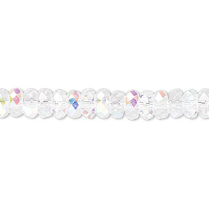bead, celestial crystal, 32-facet, clear ab, 6x3mm faceted disc. sold per 16-inch strand.