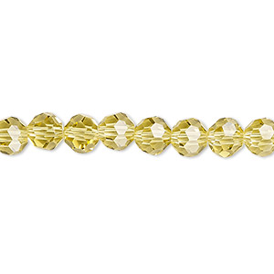 bead, celestial crystal, 32-facet, light yellow, 6mm faceted round. sold per 16-inch strand.