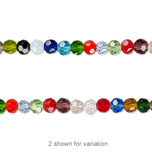 bead, celestial crystal, 32-facet, opaque to transparent multicolored, 4mm faceted round. sold per 16-inch strand.