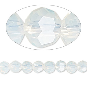 bead, celestial crystal, 32-facet, shiny frost, 6mm faceted round. sold per 16-inch strand.