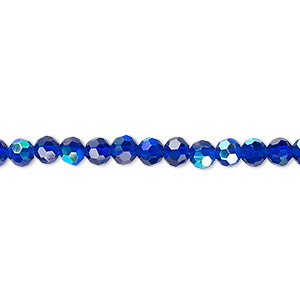bead, celestial crystal, 32-facet, translucent cobalt ab, 4mm faceted round. sold per 16-inch strand.