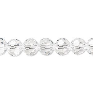 bead, celestial crystal, 32-facet, transparent clear, 8mm faceted round. sold per 16-inch strand.