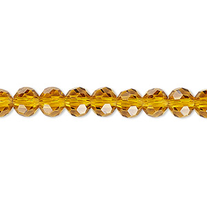 bead, celestial crystal, 32-facet, transparent gold, 6mm faceted round. sold per 16-inch strand.