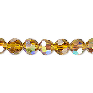 bead, celestial crystal, 32-facet, transparent gold ab, 8mm faceted round. sold per 16-inch strand.