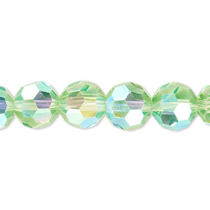 bead, celestial crystal, 32-facet, transparent lime green ab, 10mm faceted round. sold per 16-inch strand.