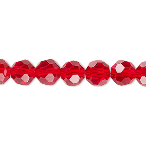 bead, celestial crystal, 32-facet, transparent red, 8mm faceted round. sold per 16-inch strand.