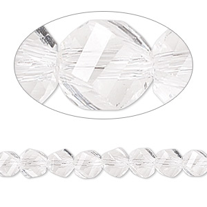 bead, celestial crystal, 34-facet, clear, 6mm faceted twist round. sold per 8-inch strand.