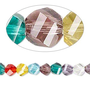 bead, celestial crystal, 34-facet, multicolored, 6mm faceted twisted round. sold per 8-inch strand.
