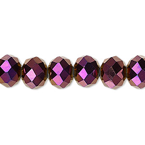 bead, celestial crystal, 48-facet, opaque metallic purple, 10x8mm faceted rondelle. sold per 16-inch strand.