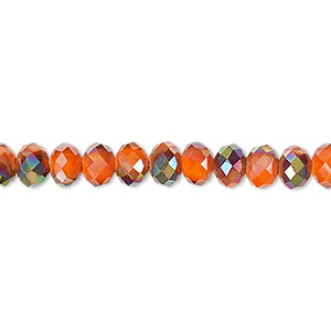 bead, celestial crystal, 48-facet, opaque orange with half-coat smoky ab, 6x4mm faceted rondelle. sold per 16-inch strand.