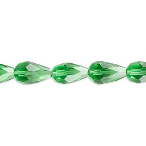 bead, celestial crystal, 56-facet, green, 12x8mm faceted teardrop. sold per 16-inch strand.