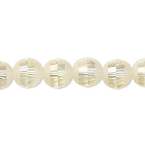 bead, celestial crystal, 96-facet, translucent crystal opal ab half matte, 10mm faceted round. sold per 8-inch strand, approximately 20 beads.