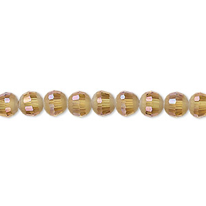 bead, celestial crystal, 96-facet, translucent golden champagne ab half matte, 6mm faceted round. sold per 8-inch strand, approximately 35 beads.