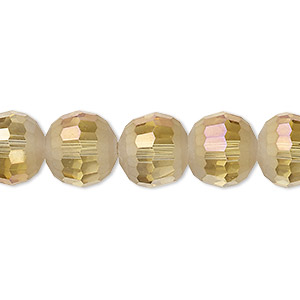 bead, celestial crystal, 96-facet, translucent golden champagne ab half matte, 12mm faceted round. sold per 8-inch strand, approximately 15 beads.