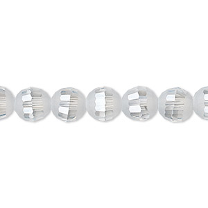 bead, celestial crystal, 96-facet, translucent smoke blue ab half matte, 8mm faceted round. sold per 8-inch strand, approximately 25 beads.