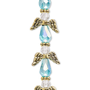 bead, celestial crystal and antique gold-finished pewter (zinc-based alloy), medium blue ab and clear, 17x14mm angel with 0.8-1.5mm hole. sold per pkg of 6.