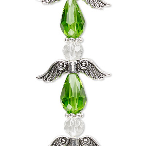 bead, celestial crystal and antique silver-plated pewter (zinc-based alloy), lime green and clear, 23x23mm angel. sold per pkg of 4.