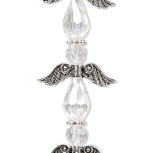 bead, celestial crystal and antique silver-plated pewter (zinc-based alloy), clear ab, 23x23mm angel. sold per pkg of 4.