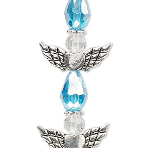 bead, celestial crystal and antique silver-plated pewter (zinc-based alloy), light turquoise blue ab and clear, 25x22mm angel. sold per pkg of 4.