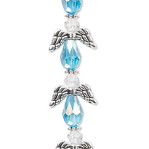 bead, celestial crystal and antique silver-plated pewter (zinc-based alloy), light turquoise blue ab and clear, 17x14mm angel with 0.8-1.5mm hole. sold per pkg of 6.