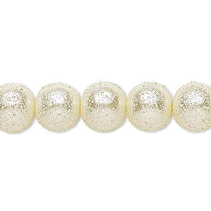 bead, celestial crystal and moonscape™, glass pearl, ivory, 10mm textured round. sold per pkg of (2) 16-inch strands.