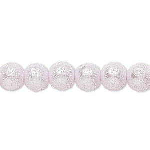 bead, celestial crystal and moonscape™, glass pearl, lilac, 8mm textured round. sold per pkg of (2) 16-inch strands.