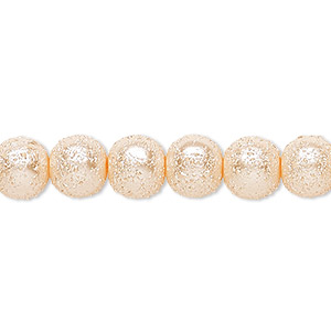 bead, celestial crystal and moonscape™, glass pearl, peach, 8mm textured round. sold per pkg of (2) 16-inch strands.