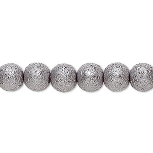 bead, celestial crystal and moonscape™, glass pearl, pewter, 8mm textured round. sold per pkg of (2) 16-inch strands.