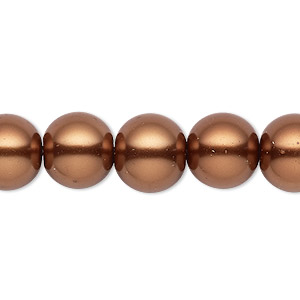 bead, celestial crystal, glass pearl, antique copper, 11-12mm round. sold per 16-inch strand.