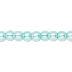 bead, celestial crystal, glass pearl, aqua blue, 6mm round. sold per pkg of (2) 16-inch strands.