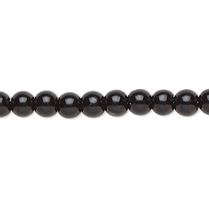 bead, celestial crystal, glass pearl, black, 6mm round. sold per pkg of (2) 16-inch strands.
