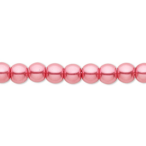bead, celestial crystal, glass pearl, bright pink, 6mm round. sold per pkg of (2) 16-inch strands.