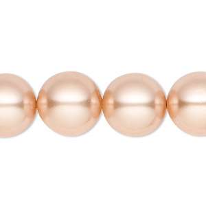 bead, celestial crystal, glass pearl, champagne, 14mm round. sold per 16-inch strand.