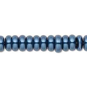 bead, celestial crystal, glass pearl, dark blue, 8x3mm rondelle. sold per pkg of (2) 16-inch strands.