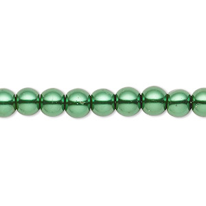 bead, celestial crystal, glass pearl, forest green, 5-6mm round. sold per pkg of (2) 16-inch strands.